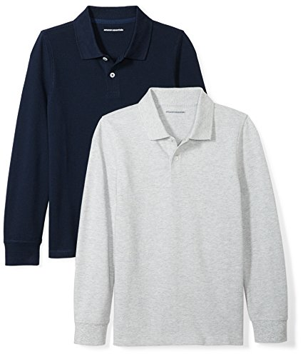 Amazon Essentials Boys' 2-Pack Long-Sleeve Pique Polo Shirt, Navy/Heather Grey, XXL (14)