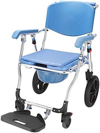 Wei Jun ベッドサイド便器椅子、ホイールタイプ妊婦ホームバスチェア付きアルミ合金素材シニア便座は、議長の携帯トイレは、患者の特別トイレの椅子を無効シャワー /-/-/ (Color : A)