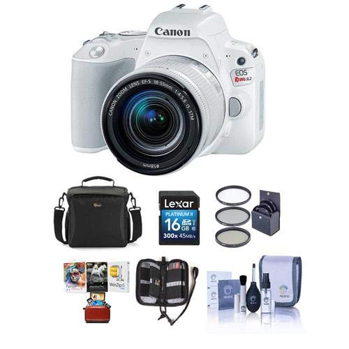 Canon EOS Rebel SL2 DSLR with EF-S 18-55mm f/4-5.6 is STM Lens - White Bundle with 16 GB SDHC Card, Camera Case, 58mm Filter Kit, Cleaning Kit, Memory Wallet, Mac Software Package by Canon