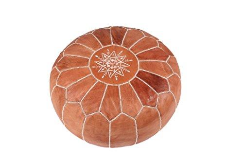 Moroccan World | Orientalisches echtes Ledersitzkissen, Pouffe, Sitzhocker, Bodenkissen, Ottoman aus Marokko | 100% Handarbeit | Hellbraunes Leder mit weißer Ziernaht | Ungefüllt | Energieklasse A++