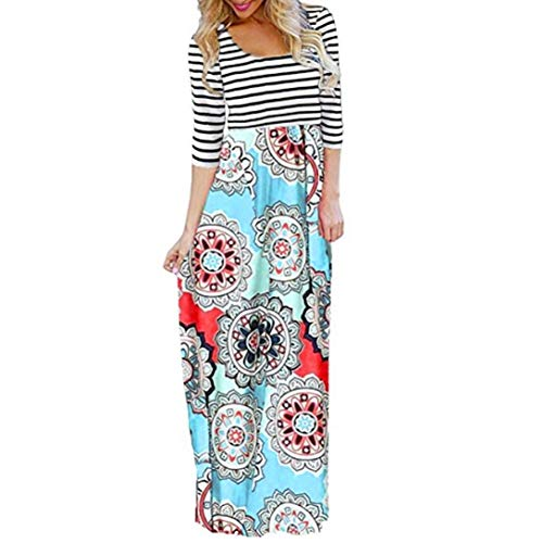 aliveGOT Women's Striped Floral Print Long Sleeve Tie Waist Maxi Dress with Pockets (Light Blue, L) by aliveGOT (Image #3)