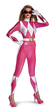 Disguise Sabans Mighty Morphin Power Rangers Pink Ranger Sassy Womens Adult Bodysuit Costume, Pink/White, Small/4-6