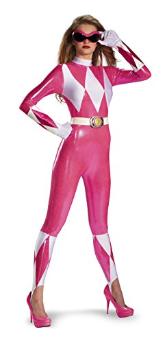 Disguise Sabans Mighty Morphin Power Rangers Pink Ranger Sassy Womens Adult Bodysuit Costume, Pink/White, Small/4-6 for $<!--$30.65-->