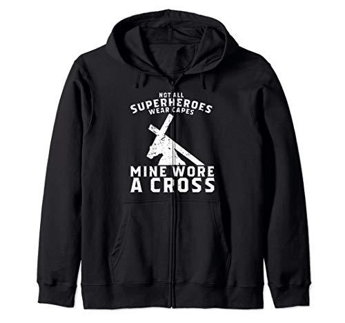 Cross Zip Hoodie - Not All Superheroes Wear Capes Mine Wore A Cross Jesus Gift Zip Hoodie
