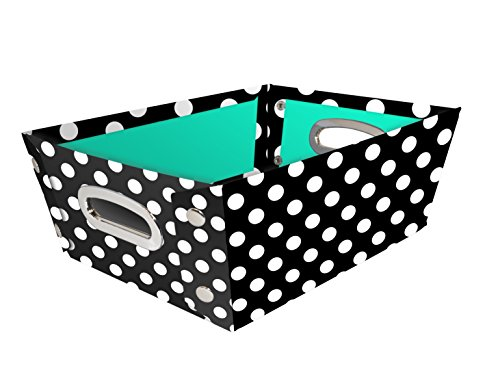 Snap-N-Store Select Home Storage Tapered Bin, 14.25 x 5 x 8.75 Inches, Black/White Polka Dot (SNS01966)