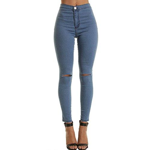 LANMWORN Femmes Jeans DChirS Jeans Capri Taille Haute,Tendue Serr Trou Au Genou Crayon Denim Pantalon DContractE Style DTruit Maigre Petit Pantalon Svelte Leggings Noir Bleu Blanc Bleu