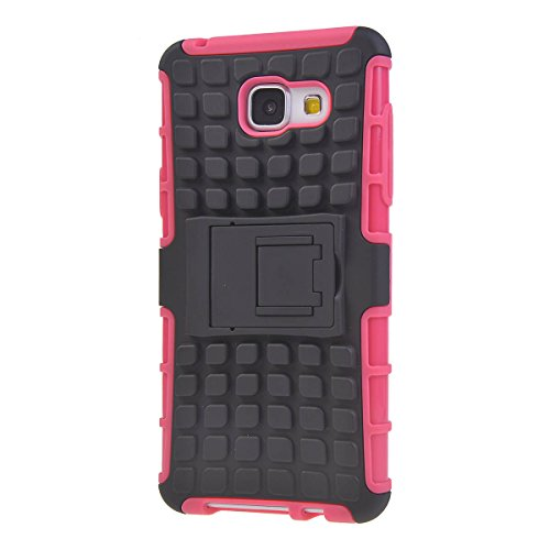 Galaxy A5 Funda,COOLKE Detachable 2 in 1 TPU + PC Dual Layer Rugged Case Cover with Built-in Kickstand for Samsung Galaxy A5 - púrpura Pink