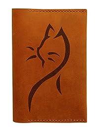 Vietsbay Unisex Cat Tattoos Handmade Genuine Leather Passport Holder/Case
