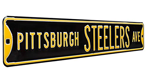 Fremont Die NFL Pittsburgh Steelers Black Metal Wall Décor- Large, Heavy Duty Steel Street Sign