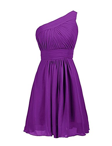 Shoulder Bridesmaid Purple Simple Bridal One Dresses Annie's Chiffon Women's Short tzU0Inqx