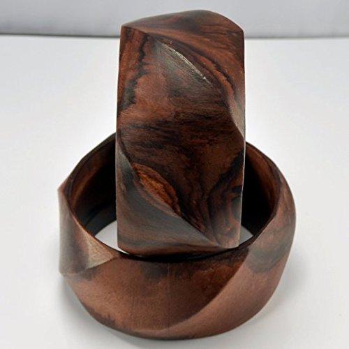 Hand Carved Wooden Bracelet - Large - Sono Wood (003)