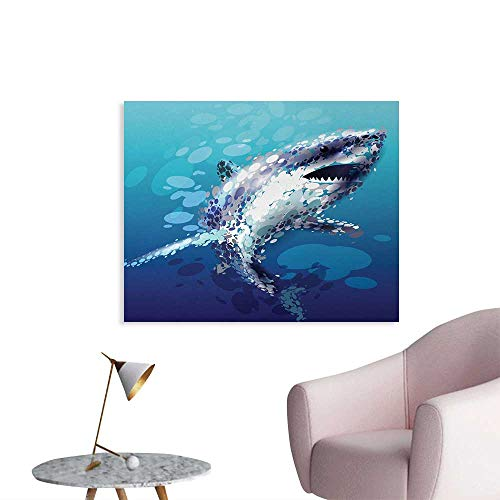 Droplet Figure - Tudouhoho Shark Space Poster Digital Made Psychedelic Shark Figure with Droplets Scary Atlantic Beast Abstract Art Photographic Wallpaper Blue Grey W36 xL32