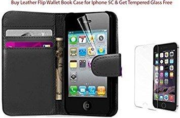 COMBO Pacco di vetro temperato per iPhone 5C + di pelle Flip a portafoglio Custodia Libro iPhone 5C