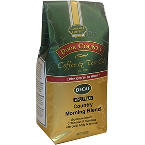 Door County Coffee, Country Morning Blend Decaf, Wholebean, 10oz Bag