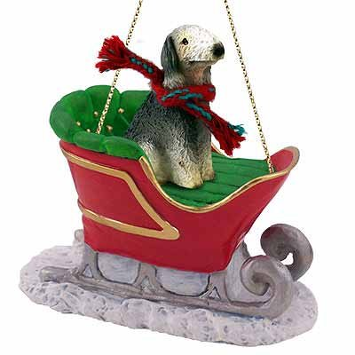 Bedlington Terrier Sleigh Ride Christmas Ornament - DELIGHTFUL! ()