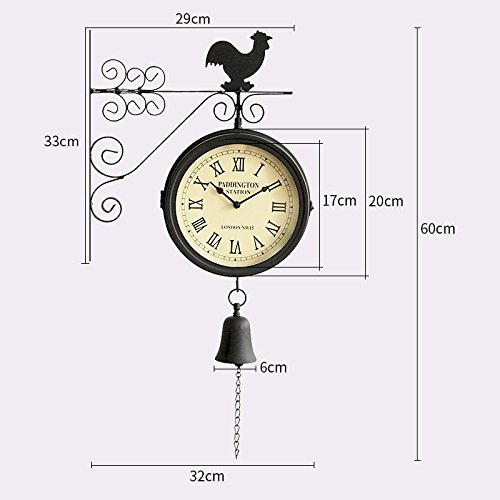 Double Pure Iron Rooster Wall Clock Large Art Decor Modern Mechanism For Kitchen, Living Room, Office For Kids,8 Inch,A
