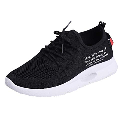 UOKNICE Women Lace-up Casual Sport Fashion Walking Flats Mesh Gym Student Running Sneaker Shoes(Black, CN 38(US 6.5))