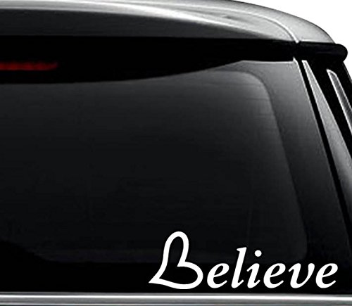 Believe Aliens UFO Decal Sticker For Use On Laptop, Helmet, Car, Truck, Motorcycle, Windows, Bumper, Wall, and Decor Size- [6 inch] / [15 cm] Wide / Color- Gloss White