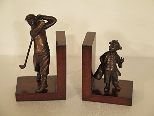 Bronze & Mahogany Golfer & Caddy Golf Bookends ~ NEW by Jansen