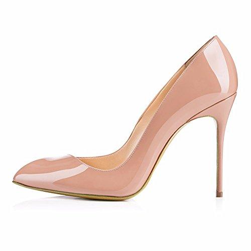 Stilettos Dress Pump Womens Wedding Heel Pointed Platform toe apricot AIWEIYi Party High qTftppM