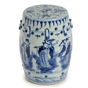 Asian Traditional Blue And White Garden Stools With 8 Immortals Motif