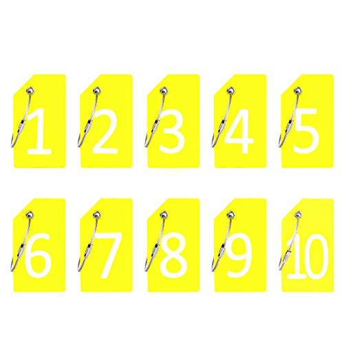 Identificador de Valijas con cable Acero - 1-10 Amarillo