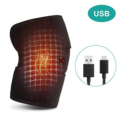 Heating Knee Brace Wrap, Warmer Heated Knee Wrap Heating Pad Heat Therapy for Knee Injury, Rheumatism, Cramps Arthritis Recovery 1 Button Control 3 Heat-Settings with 6.6ft Power Cord Fit Women Men