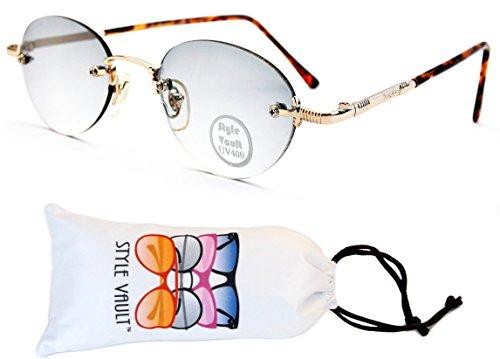 V3096-VP Style Vault Oval Round Sunglasses (B2854F Gold/Tortoise Brown-Smoked, - For Mens Sunglasses Designer Less