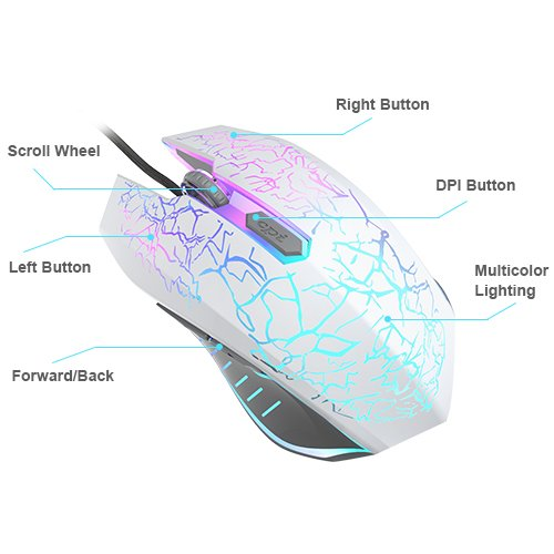 VersionTECH. Gaming Mouse, Ergonomic Wired Gaming Mice 4 Level DPI 800/1200/1600/2400, 7 Colors RGB LED Breathing Light for Laptop PC Notebook Computer Games & Work -White