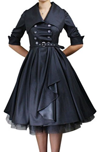 -Prim Proper- Black Double Breasted Button Formal Belt Vintage Style Dress (MD) (Buttons Vintage Shell)