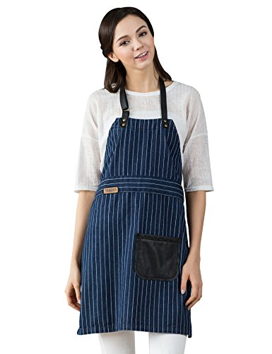 [Vantoo Unisex Pinstriped Denim Jean Apron with Pocket,Navy Blue] (Face Pirate Makeup)