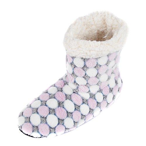 Bootie Women's Pink Lined Slippers Fleece Leisureland Dots a7fPpqRPwx