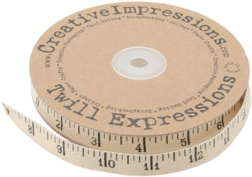 Impressions Ribbon - Creative Impressions Printed Twill Antique Ruler, 25-Yard