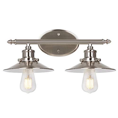 2-Light Retro Vanity Light, Brushed Nickel Bathroom Light Fixtures with Metal Shades, LED Edison Bulbs Included, Sconce…