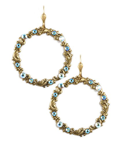 Clara Beau AB Color Swarovski Glass Crystal GoldTone Engraved Circle Earrings E658 G-AB