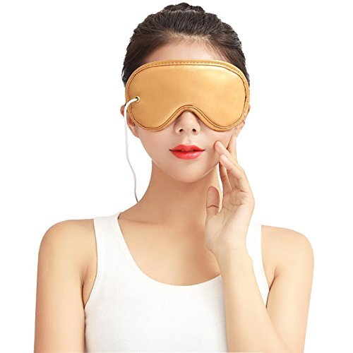 USB Heating Sleeping Mask Beneficial Far Infrared Hot Compress to Relieve Dry Tired Puffy Eyes Aromatherapy Eyes Cover Removable and Washable Blindfold with Stone Needle Therapy
