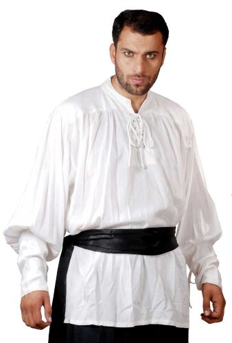 [Pirate Buccaneer Renaissance Medieval Costume Shirt (Large, White)] (Medieval Shirt Adult Costumes)
