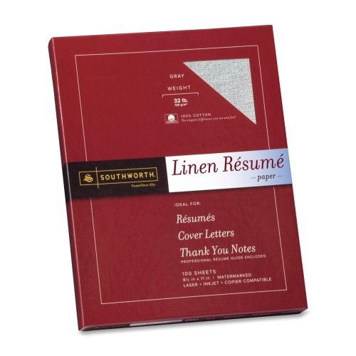 Wholesale CASE of 10 - Southworth 100% Cotton Linen Resume Paper-Resume Paper, Linen, 32 lb, 8-1/2''x11'', 100/BX, Gray by sou