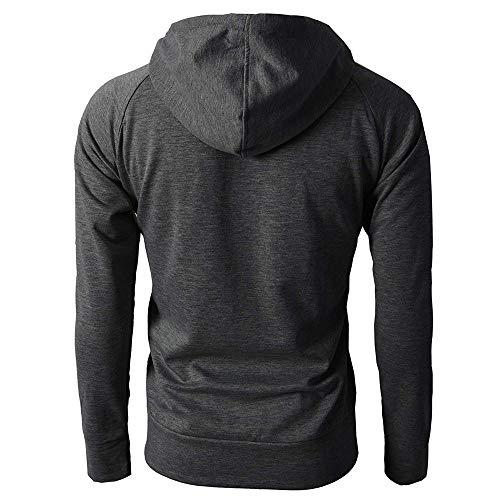 Lunga Grigio Cime Pullover Mcys Zipper Manica Autunno Sport Mens Scuro Camicia Hoodie Inverno q1A1Prnt