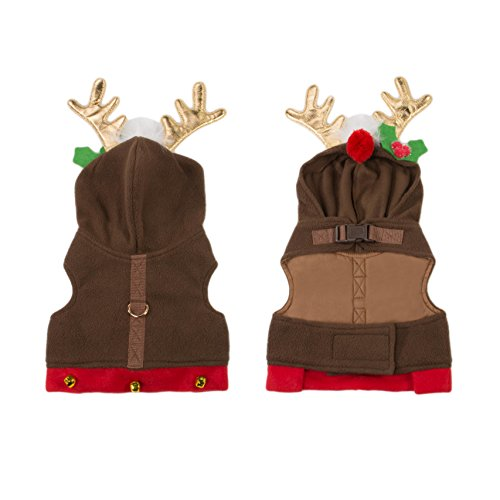 Reindeer Hoodie Cozy Waterproof Windproof Vest Winter Jacket Coat Sweater Furry Collar Red Harness Pet Puppy Dog Christmas Clothes Costume Outwear Apparel Cat (Small)