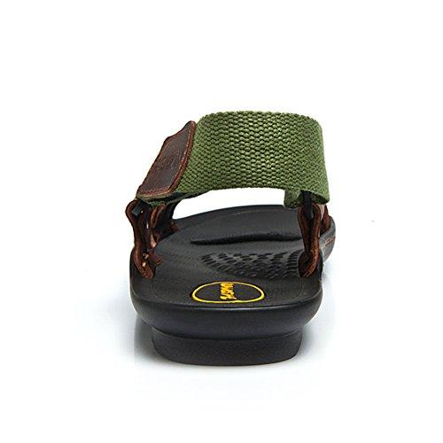 Fereshte Mens Avslappnade Cowhideläder Halkfria Massage Strand Sandaler Atletisk Sport Sandaler Militärgrön