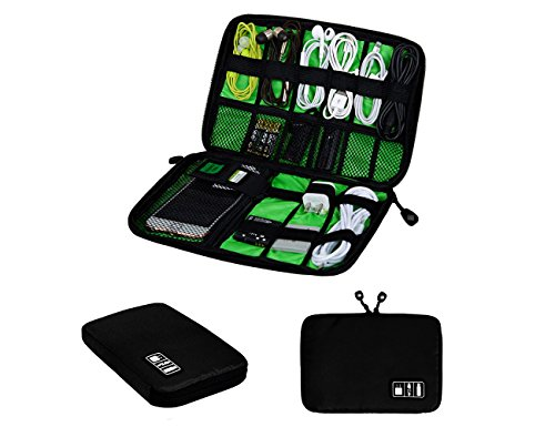 KIMSU Universal Cable Organizer Waterproof Electronics Accessories Case for Hard Disk,Charger,SD Cards,USB Cable Organizer Travel Organizer Cable Storage Bag (Black)