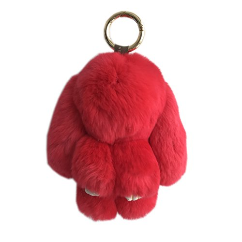 Price comparison product image 15cm Real fur Rabbit Key Chain Women Bag Charm Key Ring Toy Doll Car Keyrings