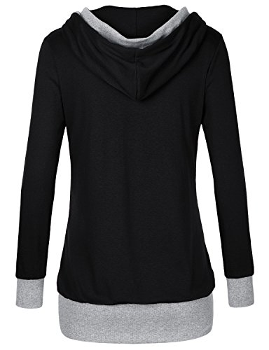 Timeson Women Pullover Hoodie, Womens Long Sleeve Knitted Panel Hooded Casual Sweatshirt (XX-Large, 31 Black)