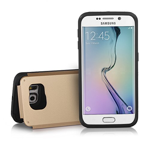 """Galaxy S6 Edge Case, Poweradd Samsung Galaxy S6 Edge Case with Kickstand and Card Slot Holster Design Perfect Protection Case for Galaxy S6 Edge (5.1"""") (2015) - Gold"""