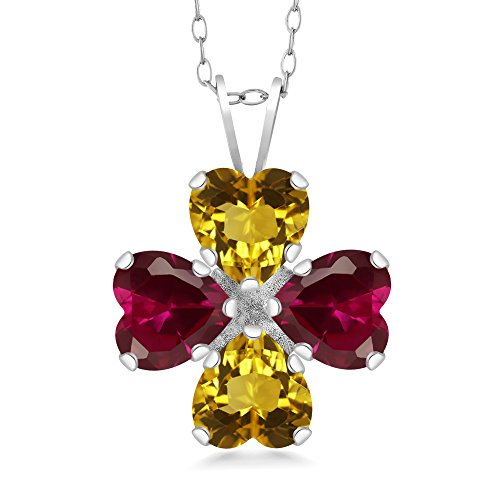 Gem Stone King 3.36 Ct Heart Shape Yellow Citrine Red Created Ruby 925 Sterling Silver Pendant