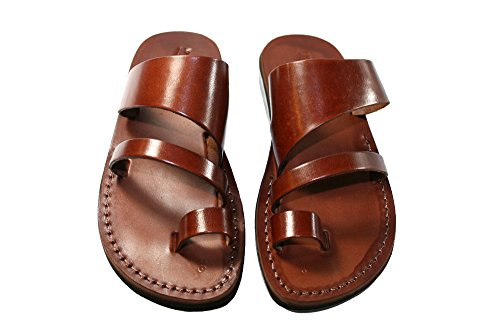 Land Leather Collection (Brown Thong Unisex Leather Sandals / Genuine Handmade Leather Holy Land Biblical Jesus Sandals (EURO # 44))