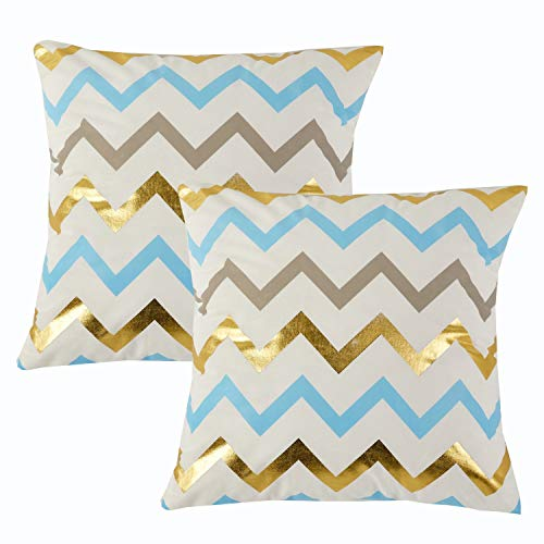 - Sunday Praise Velvet Cushion Covers Cases Geometric Pattern Accent Square Sofa Pillow Cases Handmade Euro Shams for Living Room/Farmhouse/Home Decoration,Gold Print,18x18 Inches(2 Packs,Wavy Line)