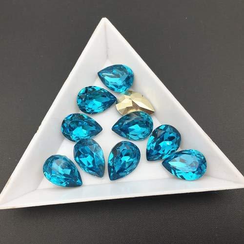 Calvas Resin Stones 50pcs 13x18,10x14mm Teardrop Point Back Rhinestones Pear Shape Stones for Dress DIY Making - (Color: Aquamarine, Item Diameter: 13x18mm 50pcs)