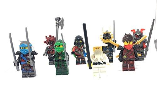 8 pc Ninja Minifigures with Sensei (Turtle Figurines Small Ninja)
